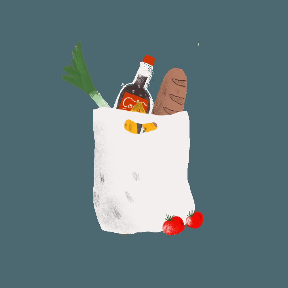 Tegning av handlenett med dagligvarer.