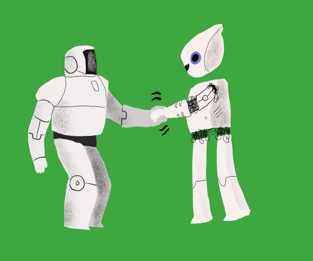 Roboter som tar hverandre i hånden.