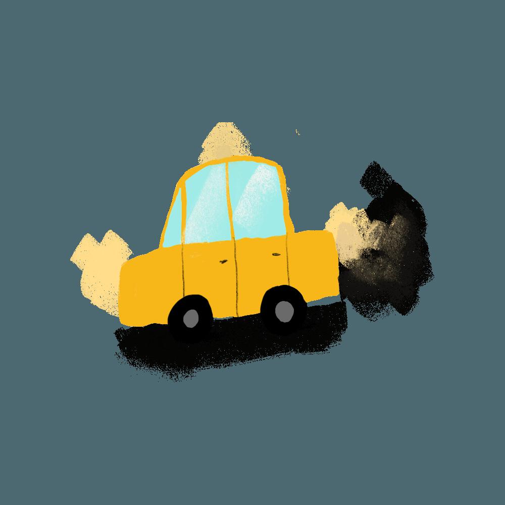 Tegning av gul taxi som forurenser.