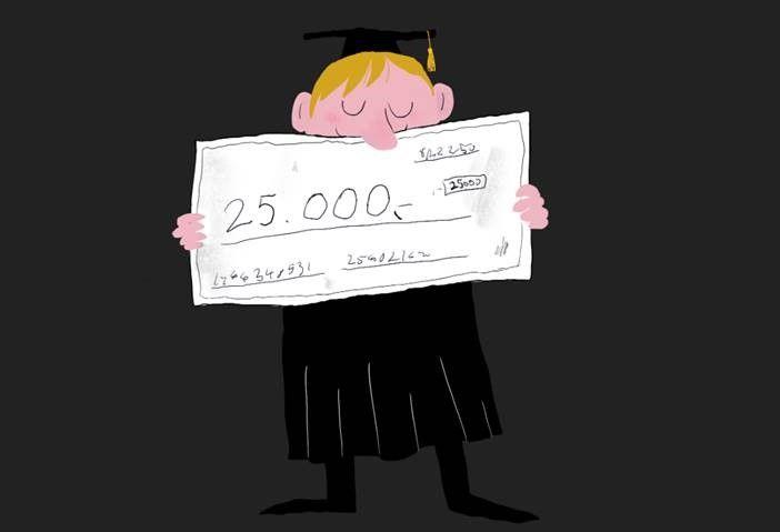 Illustrasjon av sjekk på kr 25.000 til beste masteroppgave.