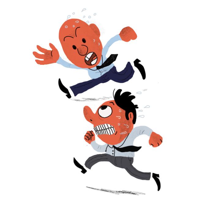 Tegning av to menn med slips som løper om kapp.