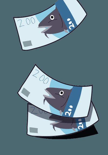 Illustrasjonstegning av 200 sedler.