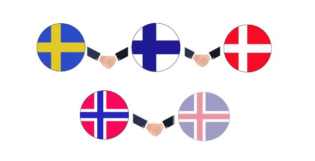 Tegning av de nordiske landenes flagg som holder hender.